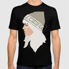 Feminist (Silver) Mens Fitted Tee Black SMALL