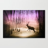 Deer In A Foggy Forest Canvas Print