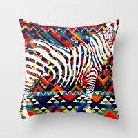 Tribal Zebra Throw Pillow