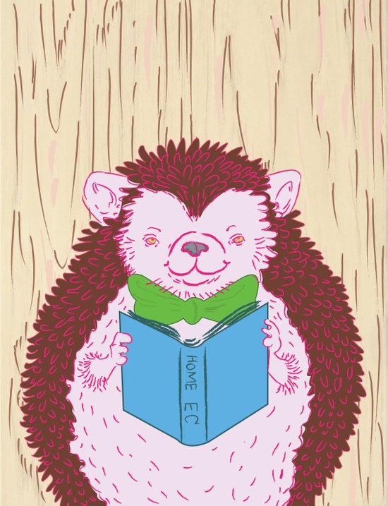 Grab a Book - Home Economics - Hedgehog Love Art Print