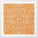 Animal Prints Pattern - Orange & White  Art Print