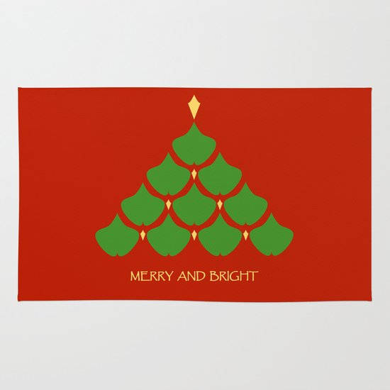 Merry and Bright Ginkgo Christmas Tree Area & Throw Rug