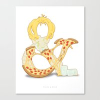 Pizza & Beer Canvas Print