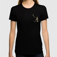 Spooky Scary Skeletons Womens Fitted Tee Black SMALL