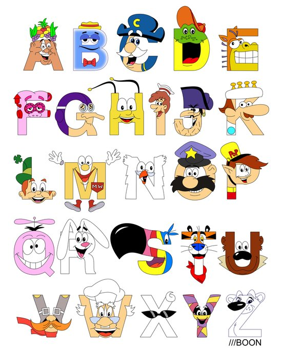 Breakfast Mascot Alphabet Art Print