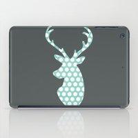 Deer head, art, polka dot, modern, vintage iPad Case