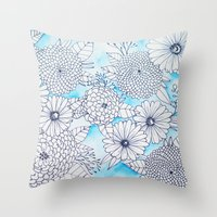 Floral Doodle in Blue Throw Pillow