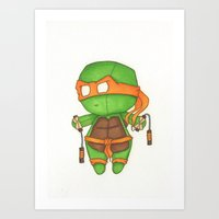 Mini TMNT Mikey  Art Print