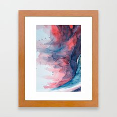 Watercolor shadow red & blue, abstract texture Framed Art Print