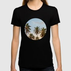 Sky beach palmier Womens Fitted Tee Black SMALL