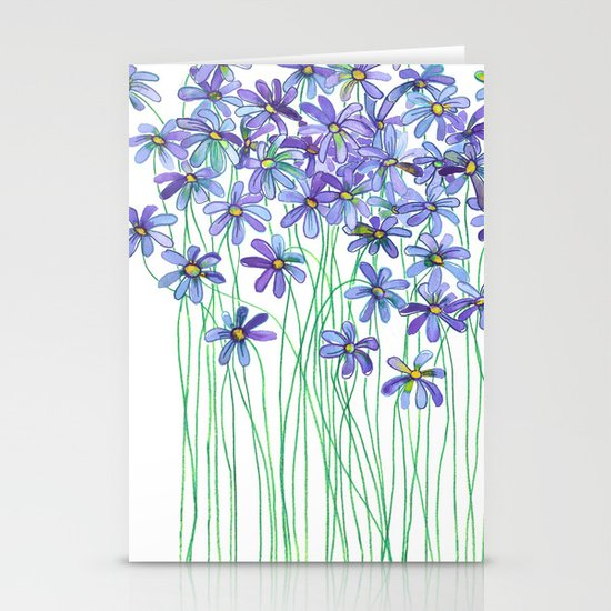 Purple Daisies in Watercolor & Colored Pencil Stationery Card