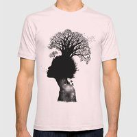Natural Black Woman Mens Fitted Tee Light Pink SMALL