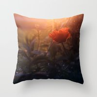 Summer Poppy Throw Pillow