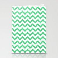 funky chevron mint pattern Stationery Cards