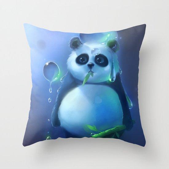aqua panda Throw Pillow
