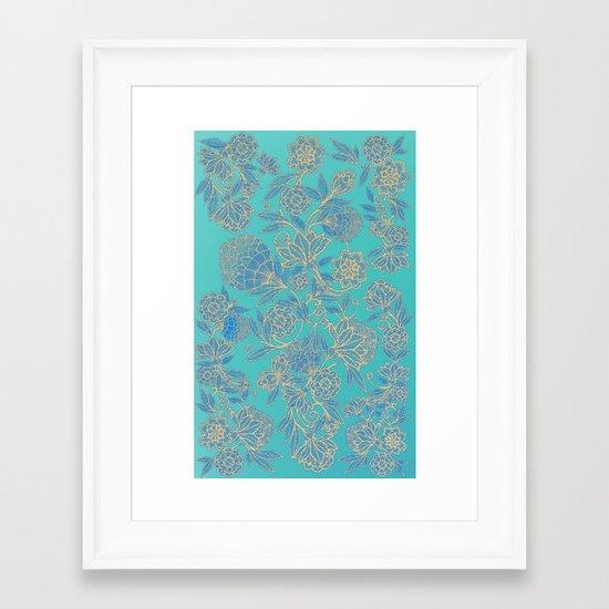 Aqua Floral Framed Art Print