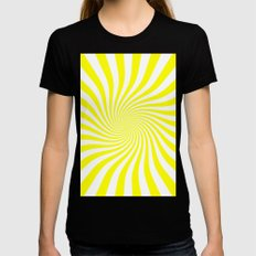 Swirl (Yellow/White) Womens Fitted Tee Black SMALL