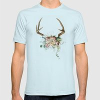 Floral Antlers V Mens Fitted Tee Light Blue SMALL