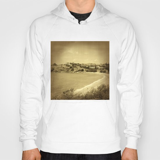 Bay and beach side suburb in sepia Hoody