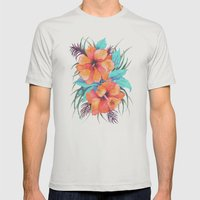 TROPICAL FLOWER {orange … Mens Fitted Tee Silver SMALL