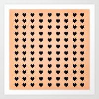 Rows Of Hearts (peach) Art Print