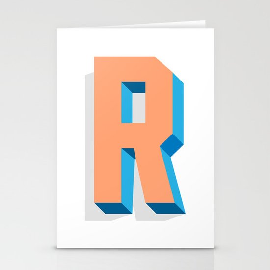 Letter R Stationery Card