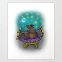 Dreaming Ferret Art Print