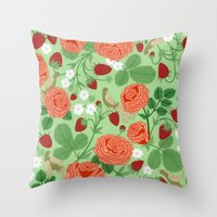 Roses And Strawberries O… Throw Pillow