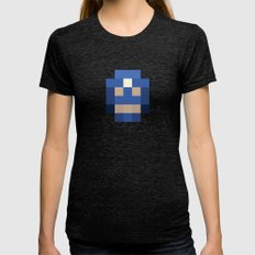 hero pixel white blue Womens Fitted Tee Tri-Black SMALL