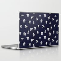baby Laptop & iPad Skins featuring Indian Baby Elephants in Navy by Estelle F