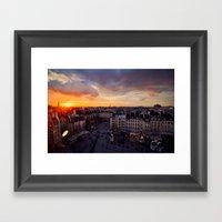 Paris Skyline Sunset Framed Art Print