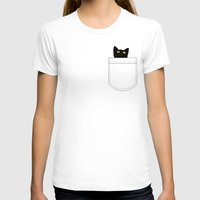 Pocket Cat Womens Fitted Tee White SMALL
