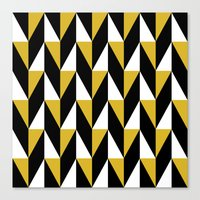 Mustard & black triangle mid-century pattern Canvas Print