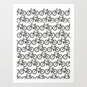 Bicycle Stamp Pattern - Black and White - Fixie Fixed Gear Bike Art Print