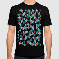 Triangles #3 Mens Fitted Tee Black SMALL