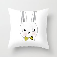 rabbit bow  Throw Pillow
