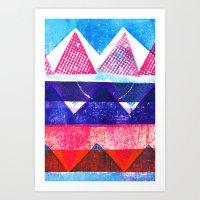 Press print and digital triangles Art Print
