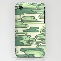iPhone 3Gs & iPhone 3G Cases featuring Green Doodle Camouflage by shutupbek