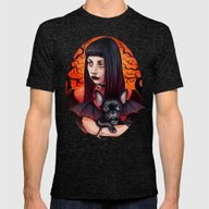 The Vamp And Her BatPig Mens Fitted Tee Tri-Black SMALL