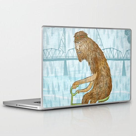 Dirty Wet Bigfoot Hipster Laptop & iPad Skin
