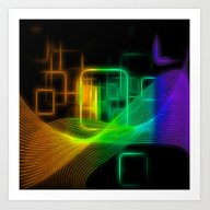Abstract Glowing Lines Art Print
