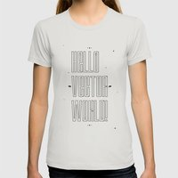 Hello world ! Womens Fitted Tee Silver SMALL