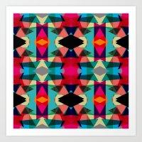 Tribal Red Triangles Art Print
