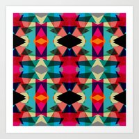 Tribal Red Triangles Art Print