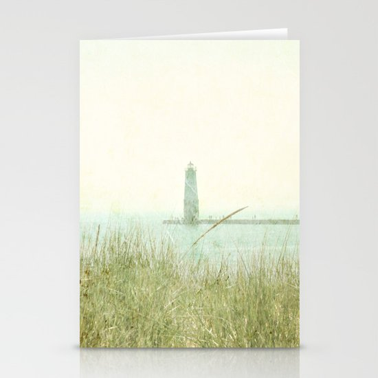 Two Boats and a Lighthouse Stationery Card