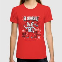 BE YOURSELF Womens Fitted Tee Red SMALL