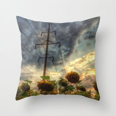 field of faded sunflowers  Throw Pillow