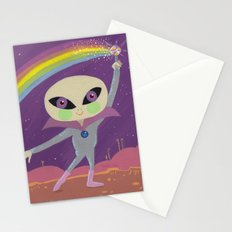 Rainbow Alien Stationery Cards