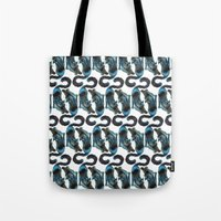 Black Blue Cat Stretching Drawing  Tote Bag