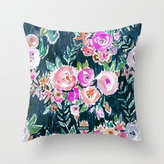 PROFUSION FLORAL - MIDNIGHT Throw Pillow